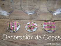 Copas decoradas a mano con papel para decorar